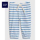 Gap男嬰兒 柔軟條紋抽繩鬆緊腰長褲 441330-微風藍