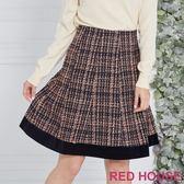Red House 蕾赫斯-格紋毛呢剪接裙(共2色)