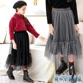 女童半身裙新春2020兒童黑色灰色絲絨網紗公主裙過膝下半身中大童長裙 OO2884【甜心小妮童裝】