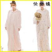 浴袍睡袍 法蘭絨睡袍可愛加長款加厚珊瑚絨睡裙