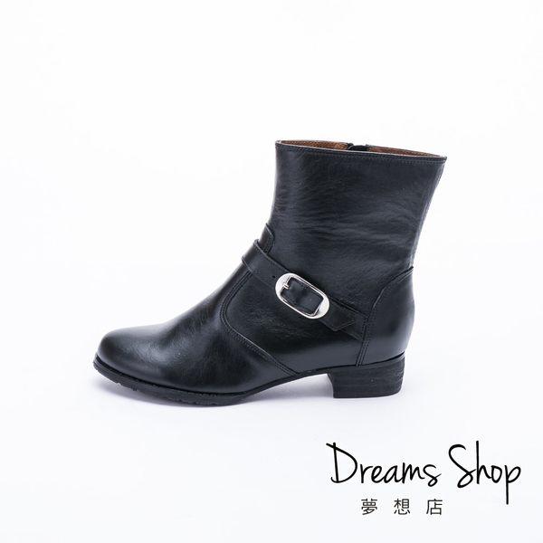 大尺碼女鞋-夢想店-MIT台灣製造內外全真皮騎士風皮帶扣短靴3cm(41-46)-黑色【JD3015】