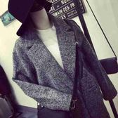韓妹子歐美簡約複古粗花呢寬鬆中長款休閑毛呢大衣