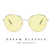 麥穗圓框太陽鏡 時尚海洋片眼鏡 金屬太陽鏡【五巷六號】y32