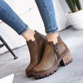 秋冬韓版粗跟高跟女靴子短靴馬丁靴英倫時尚防滑裸靴女靴子