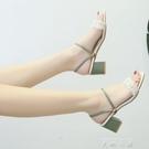 高跟鞋2020年新款夏季中跟粗跟百搭珍珠仙女風時尚露趾一字涼鞋子