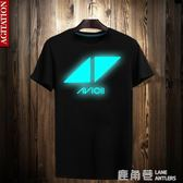 T恤 T恤夏季電音周邊衣服 Avicii 艾維奇 A神 t恤 男女夜光反光短袖『鹿角巷』