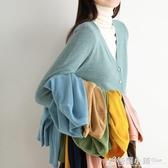 針織開衫女秋冬新款V領寬鬆打底毛衣外套短款羊絨衫慵懶外搭 格蘭小鋪