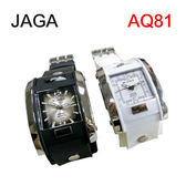JAGA 捷卡 AQ81 指針錶 方型 漸層錶面 冷光 鉚釘 雙層橡膠錶帶 34mm  防水 耐用 原廠保固一年
