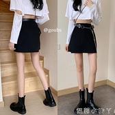 褲子女2021年新款夏季暗黑風高腰裙褲寬松短褲百搭顯瘦工裝休閒褲 蘿莉館品