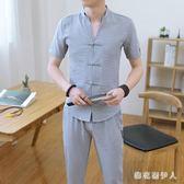 運動套裝2019休閒夏季短袖t恤中國風潮流開衫衣服 QX2978 【棉花糖伊人】