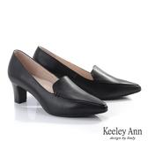 ★2019秋冬★Keeley Ann極簡魅力 復古尖頭粗跟包鞋(黑色)