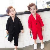 花童禮服男童小西裝套裝韓版英倫帥氣小孩衣服休閒兩件套 Ic454『伊人雅舍』