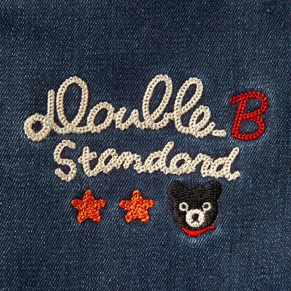 DOUBLE_B 黑熊刺繡加絨保暖反摺長褲(靛藍)