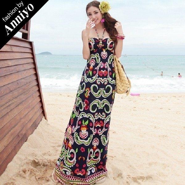 Anniyo安妞‧性感珠鏈掛脖露肩波西米亞海邊度假垂感牛奶絲修身顯瘦沙灘裙長裙長洋裝 藏青色