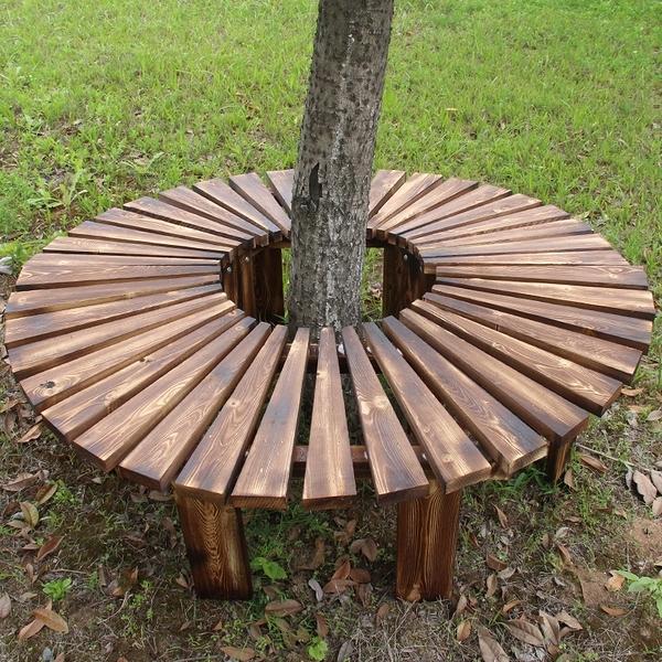 戶外庭院露天小區休閒防腐木頭凳子花園長條公園座椅休息椅子實木