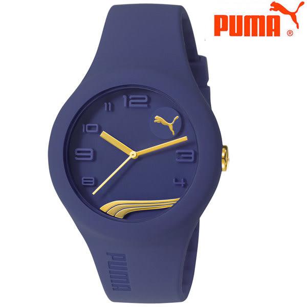 PUMA 潮流LOGO金針深藍膠帶錶x42mm PU103001016 學生錶 運動錶 公司貨|名人鐘錶高雄門市