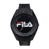 【FILA 斐樂】大錶徑簡約LOGO造型腕錶-個性黑/38-160-004/台灣總代理公司貨享兩年保固