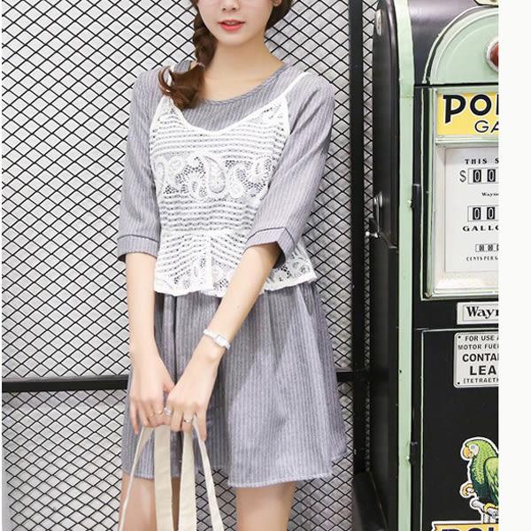兩件套長版上衣 韓版顯瘦蕾絲外搭-月兒的綺麗莊園