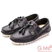 G.Ms. MIT系列-牛皮縫線綁帶帆船鞋*黑色