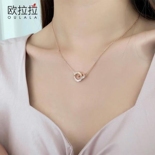項鏈女羅馬字鑽石簡約氣質吊墜飾品鎖骨鏈【少女顏究院】