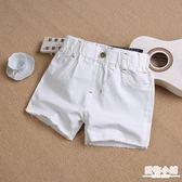 女童牛仔短褲夏季新款韓版中大童兒童白色外穿百搭寬鬆熱褲子