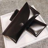 現貨- 高品質皮質眼鏡盒 簡約按扣太陽鏡盒子黑色抗壓眼鏡盒 方便攜帶 保護眼鏡 耐刮 內裏加絨