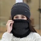 韓版秋冬套頭帽貼布加绒保暖針織毛線帽&圍脖2件套組72382
