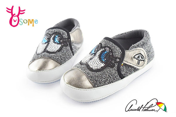 學步鞋 大眼睛小睫毛 台灣製造 Arnold Palmer雨傘牌 寶寶鞋F3070#灰色◆OSOME奧森鞋業