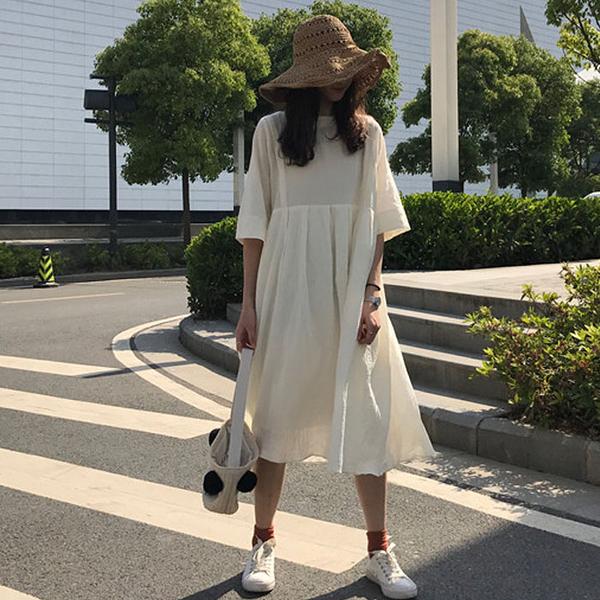 [超豐國際]夏季寬松中長款連衣裙女簡約氣質中袖純色裙子女學生1入
