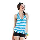 ★奧可那★ 都會水漾藍條紋外罩三件式泳衣...