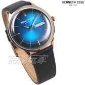 Kenneth Cole 沉著不亂 掌握細節 漸層面盤 男錶 玫瑰金x藍色 真皮錶帶 KC50589013