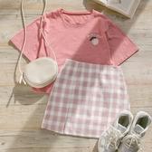 MUMU【T11319】Peach水蜜桃圓領短袖上衣T恤。奶油白/粉