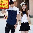 短袖襯衫-情侶裝-情人節穿搭韓版字母百搭...