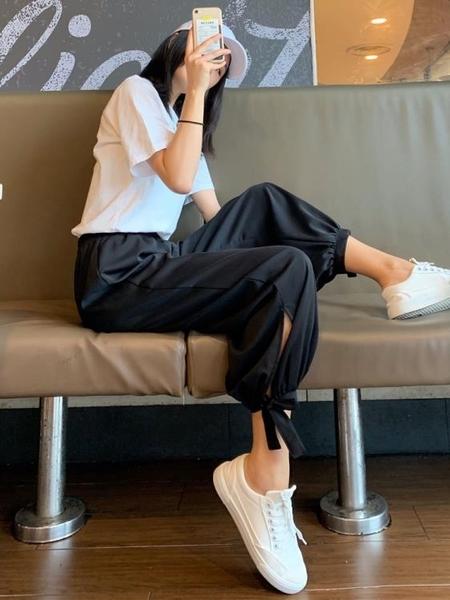 墜感束腳褲女冰絲雪紡夏季薄款防蚊大人高腰垂感寬鬆闊腿褲 【ifashion·全店免運】