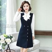 職業裙職業女裙套裝秋新款蝴蝶結領襯衣馬甲洋裝兩件套時尚氣質工作服 快速出貨