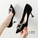 細跟高跟鞋 黑色高跟鞋女2021新款春秋尖頭百搭細跟工作鞋小碼女鞋313233單鞋 交換禮物