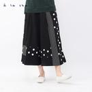 a la sha 條紋圓點拼接寬版褲裙...