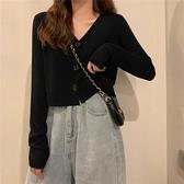 短款上衣女春裝2021新款韓系溫柔風薄款v領毛衣黑色針織開衫外套 錢夫人