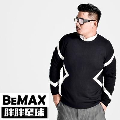【胖胖星球】中大尺碼‧撞色針織質感黑毛衣 2XL~7XL‧加大/長袖【63504】