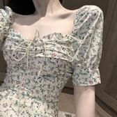 雪紡洋裝2020春夏法式氣質方領泡泡短袖連身裙女修身小清新碎花雪紡短裙子 suger