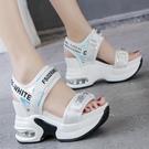 坡跟增高運動休閒涼鞋女2021新款韓版百搭厚底氣墊涼鞋時尚ins潮 快速出貨