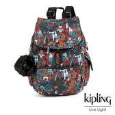 Kipling 俏皮猴都市叢林圖騰拉鍊掀蓋後背包-CITY PACK S