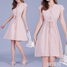 亞麻洋裝 大碼連身裙新款女裝夏季中長款v領胖mm收腰顯瘦氣質夏天裙子 韓菲兒