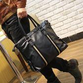 韓版休閒包單肩包手提斜背包潮流商務原創設計男士皮包新 可可鞋櫃