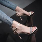夏季新款女士涼鞋時尚水鑽百搭仙女風一字扣帶網紅細跟高跟鞋 【快速出貨】