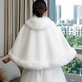 冬季新娘女狐貍毛披肩婚紗斗篷加厚披風外搭秋冬結婚旗袍保暖外套 陽光好物