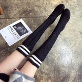 長靴 2019秋冬百搭加絨過膝靴子女高跟單靴平底高筒靴彈力粗跟瘦腿長靴