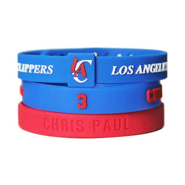 NBA官方授權正版 運動矽膠手環-Chris Paul 小保羅 CP3 洛杉磯快艇隊 組合(含三條)