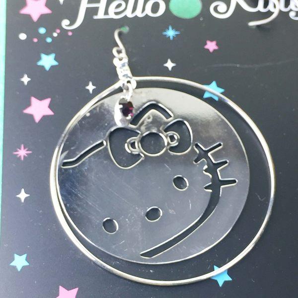 【震撼精品百貨】Hello Kitty 凱蒂貓~造型耳環-大臉圓圈造型