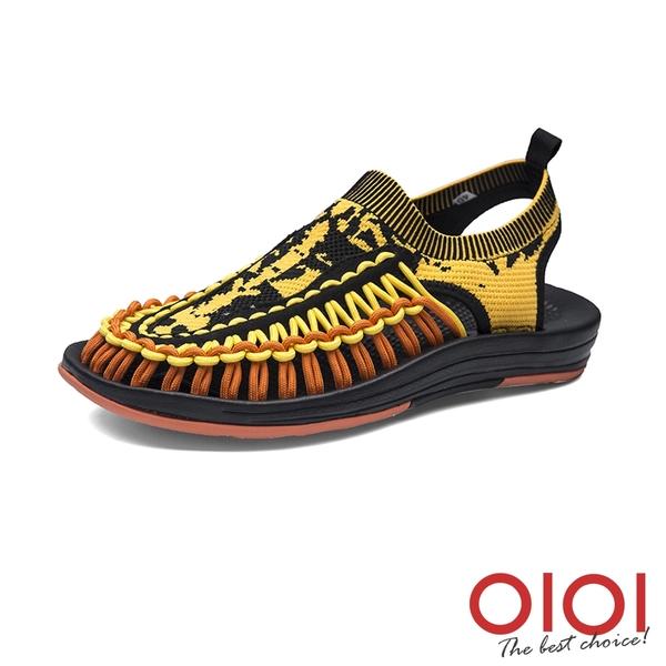 涼鞋 玩潮飛織編織繩情侶鞋(男女款-黑黃)*0101shoes【18-D999bky】【現+預】